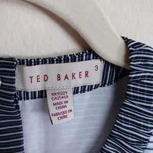 Ted Baker Tops - Ted Baker Sleeveless Blouse Striped Pleated Sz 3